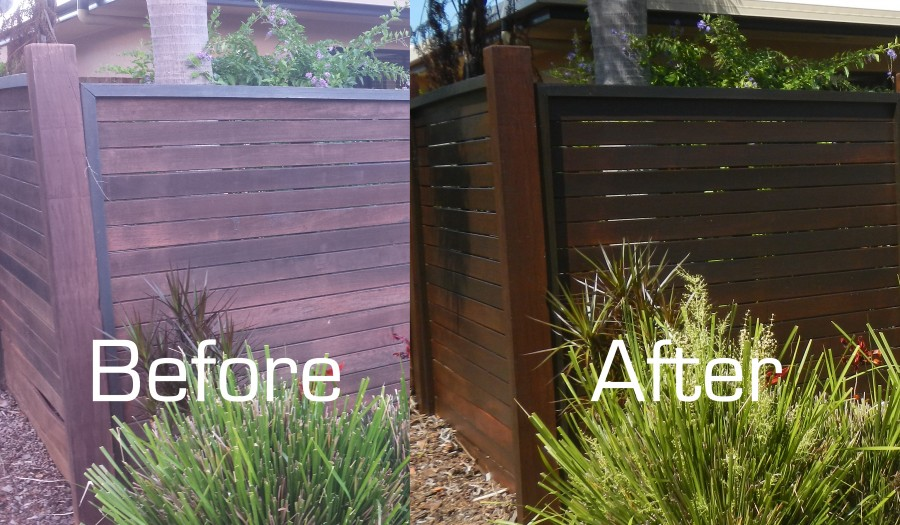 Before and after of the fence