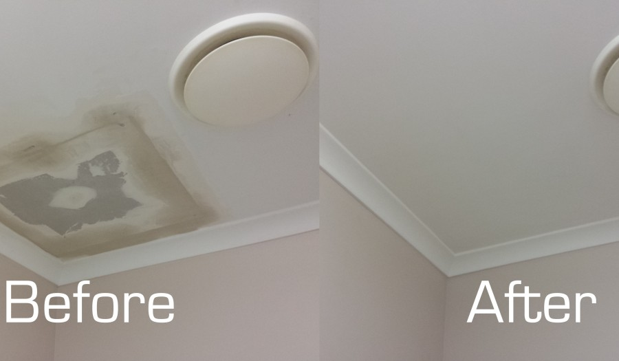 Ceiling Patch Before and After
