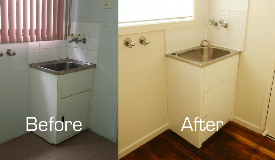 Laundry Tub Before and After