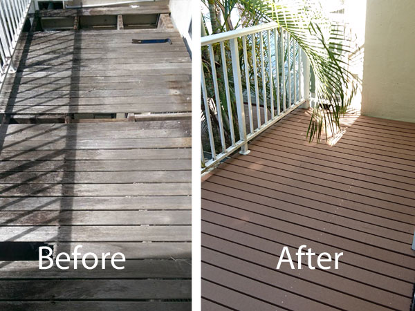 Before and After of the new deck
