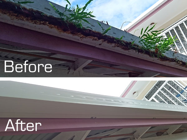 New gutter before and after